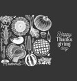 happy thanksgiving day banner hand drawn on chalk vector image vector image