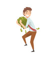 happy wealthy businessman with lot money lucky vector image vector image
