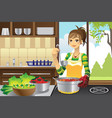 housewife cooking vector image