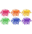 Jellyfish in six different colors vector image vector image
