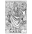 magician engraved fantasy vector image vector image