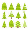 merry christmas fir tree icon set cute cartoon vector image