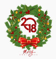 new year s wreath with the inscription vector image vector image