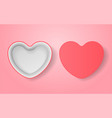realistic pink box heart form vector image