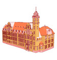 red castle on white background vector image vector image