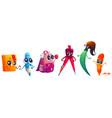 school supplies cartoon characters cute mascots vector image vector image