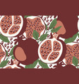 seamless pattern with pomegranates seeds and vector image