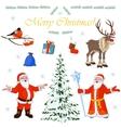 Set of Christmas characters Santa Claus and his vector image vector image