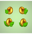 Set of golden eggs in green leaves vector image vector image