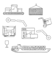 Shipping and delivery service sketch icons vector image