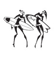 silhouettes of surf girls vector image vector image