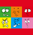 six human emotions on colorful background vector image