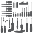various screwdriver silhouette set vector image