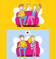 woman and man sitting on sofa in different poses vector image