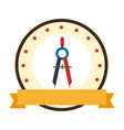 color emblem of compass with pencil vector image
