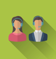 icons of male and female avatars for operators vector image