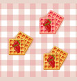 breakfast waffles on vintage pattern vector image