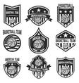 set of american basketball team labels emblems vector image