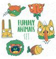 set of cartoon animal emblems vector image