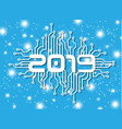 2019 happy new year circuit with stars blue vector image vector image