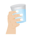 a glass of clean water in a hand vector image