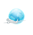 Airplane with the globe isolated on white backgrou vector image vector image