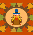 autumn thanksgiving day background with turkey vector image vector image