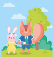 back to school cute rabbit and squirrel with book vector image vector image
