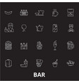bar editable line icons set on black vector image vector image