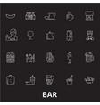 bar editable line icons set on black vector image