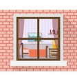 Bedroom through the window vector image