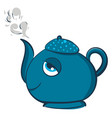 blue smiling teapot on white background vector image vector image