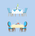 blue table for couple plates and glasses vector image