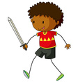Boy playing with sword vector image vector image
