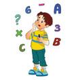 boy solving a math problem vector image