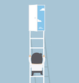 businessman climbing ladder to door freedom vector image vector image