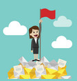 businesswoman standing on a huge tower stack of vector image vector image