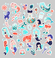 collection of cute cartoon mermaids with vector image
