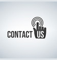contact us icon with hand mouse cursor and waves vector image vector image