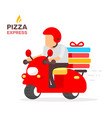 creative color of man is riding a red motorcycle vector image