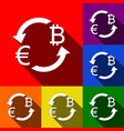 currency exchange sign euro and bitkoin vector image vector image