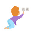 cute toddler baby touching an electrical socket vector image