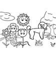 dog cartoon coloring book vector image vector image