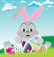 Easter day with colorful egg Bunny for Easter vector image vector image