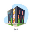 exterior view at bar building taproom vector image vector image