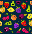 flat fruits with cute faces pattern or vector image vector image