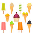 for set natural colored ice cream vector image