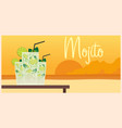 fresh mojito with lime and green mint leaves in vector image vector image