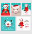 funny christmas rats greeting cards merry vector image vector image