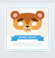 funny mask of bear muzzle wild animal character vector image